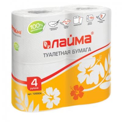 Бумага туалетная 2-х слойная 4 шт уп 4*19м ЛАЙМА белая, арт.: 126904