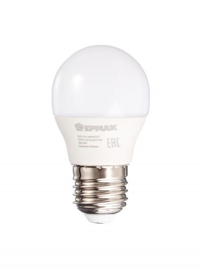 Лампа светодиодная G45, 5 Вт, E27, 400 Лм, 4000К, холодный светЕРМАК, арт.: 624007