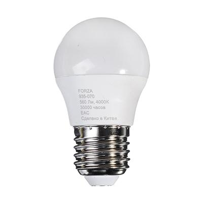 Лампа светодиодная G45 7W, E27, 560lm 4200К FORZA, арт.: 935070